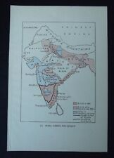 Vintage Map: India Under Wellesley, Historical Map, c 1950s