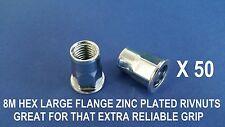 50 X HEX STEEL ZINC PLATED RIVNUTS M8 NUTSERT LARGE FLANGE NUTSERTS RIVNUT