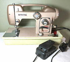 White pink Sewing Machine model 764 art deco, vintage WORKS WELL in carry case