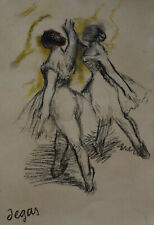 Fine Impressionist pastel and gouache painting of dancers, signed Degas - Rare