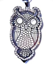 GUNMETAL FILIGREE OWL pendant crystal rhinestones chain necklace bird kitschy 3C