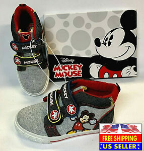*TODDLER BOYS SIZE 11 DISNEY MICKEY MOUSE HIGH-TOP GRAY & BLACK SNEAKERS