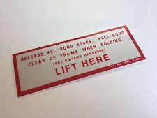 MG Midget 1500 Sticker Convertible Hood Roof advice 1970's