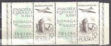 Poland 1959  Polish Philatelic Society Mi 1101 - strip of 2 stamps + 2 label MNH