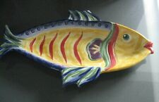 "Tabletops Unlimited Under The Sea Figural Fish 18"" Oval Serving Platter Nwt!"