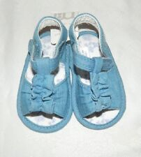Mothercare Baby Girls Denim Blue Ruffle Sandals size infant 1 NEW RRP £7