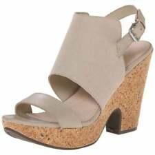 Naya Size 8.5 Misty Wedge Leather Sandals Beige/Off White Wedge Cork heels Shoes