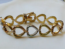 "GOLD PLATE OVER STERLING SILVER 925 HEART LINK CHAIN BRACELET 7.25"" ITALY"