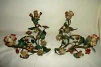 ITALIAN TOLE CANDELABRA CANDLE HOLDERS PAIR ORIGINAL COLOR FRENCH STYLE ANTIQUE