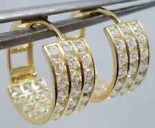 GOLD Earring 14K Huggie Hoop Simulated Diamond 4.3g 18mm