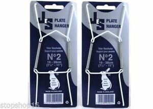 """2 x Wire Plate Hangers sizes No-2, 19-28CM, 7.5""""-11"""" Wall, Holder"""