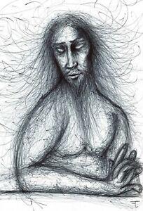 Dessin original sur papier stylo bille - signé - Artiste  FLAVIEN COUCHE