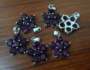 2pc  silver plated Purple Crystals Flower design dangle Charms 15mm AA005