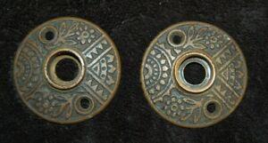 Antique Pair Cast Brass EASTLAKE Door Plates