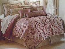 WATERFORD CARRAN PLUM TAUPE JACQUARD ACANTHUS LEAF SCROLL KING  DUVET COVER NEW