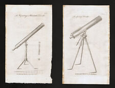 1809 Astronomy Atlas Prints x 2 Refracting & Reflecting Telescopes Sky Antique
