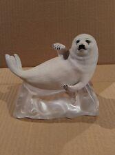 "1987 Franklin Mint Humane Society Snow Pup Figurine w/ Crystal ""Ice"" Glass Base"