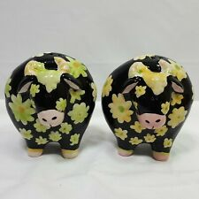 Heather Goldminc Cow Bull Salt Pepper Shakers Black Green Floral Design 3.5""