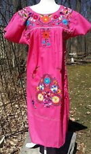 Puebla Dress Mexican Embroidered Flowers Floral Oaxacan M Medium Pink 02