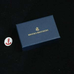 NIB #1 MENSWEAR Brooks Brothers White Enamel Red Nautical Anchor Lapel Pin NR