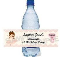 PINK DANCE BALLERINA TUTU BALLET BIRTHDAY PARTY water bottle label wrappers