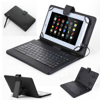 "For Amazon Kindle Fire 7"" 2017 2015 2013 Leather Case Cover USB Micro Keyboard"