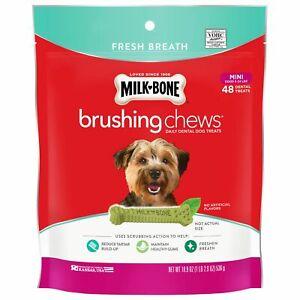 Milk-Bone Fresh Breath Brushing Chews 68 Mini Daily Dental Dog Treats