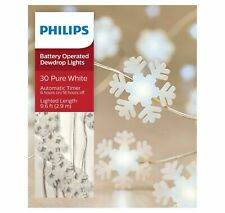 Philips 30ct Christmas Battery Operated LED Frosted Snowflakes Dewdrop White