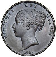 1841 PENNY - VICTORIA BRITISH COPPER COIN - V NICE