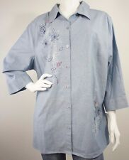 *NEW* Napa Valley Blue Shirt Top With Floral Design Womens Size 1X   $50 Retail
