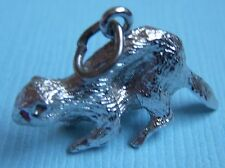 Vintage beaver with red eyes sterling charm