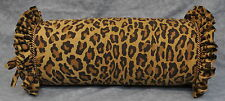 Ruffled Bolster Pillow made w Ralph Lauren Aragon Leopard Animal Print Fabric