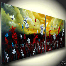 Flower painting Original OIL Abstract Floral Art modern Paintings Red Art by Mk