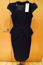Karen Millen Black Brocade Tailored Peplum Cocktail Pencil Dress Size 12