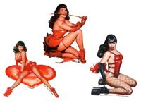 BETTIE PAGE Red Corset Fishnets Whip Vinyl SET OF 3 STICKER/DECAL Art By OLIVIA