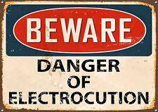 Beware Metal Sign Danger of Electrocution Warning Sign Door Wall Plaque 377