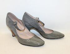 REPETTO Femmes Gris Cuir Verni & Daim Bout Rond Mary Jane Chaussures UK4 EU37