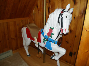 """""""THE ROSE"""" Handcarved and Painted Full Size Wooden Carousel Horse"""