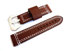 22mm Hand Stitches Coffee Brown Leather Watch Strap Fishtail Buckle