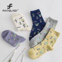 1Pair Women Cactus Pattern Socks Girls Comfortable Cute Cotton Casual Hosiery