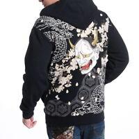 Mens Hoodie Embroidery Sweatshirt Japanese Sukajan Jacket Flame Dragon Tattoo