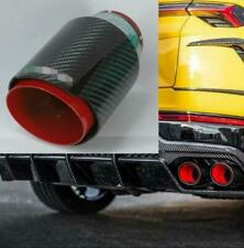 "Car Exhaust Tip Muffler Pipe Red Steel Black Carbon Fiber 2.5"" Inlet Universal"