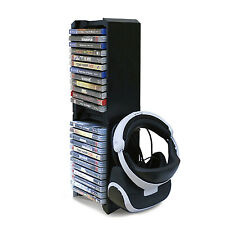 PS4 XBOX ONE S Game Storage Tower and Vertical Console Stand VR Glasses Holder