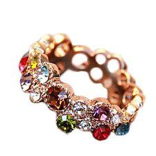 2pcs Women's Colourful Rhinestone Crystal Finger Dazzling Ring Jewelry Fashion