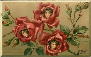 Tuck Postcard 121. Love Petals, A Message from the Roses, Ladies Faces in Flower