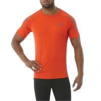 ASICS Men's Running T-Shirt Stripe Sports S/S Top T-Shirt - Orange - New