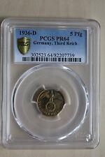 5 Reichspfennig 1936 D proof im PCGS Holder PR 64 sehr selten nswleipzig