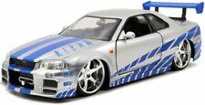 Jada Toys Fast & Furious: Brian's Nissan Skyline GT-R (R34) Échelle 1:24 Voiture Miniature - Candy Silver/Blue (97158)