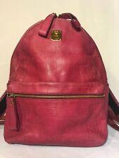MCM J0277 Munchen Magenta Pink Backpack Croco Pattern Carry-all Shoulder Bag