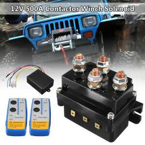 Heavy Duty 12V 500A Contactor Winch Solenoid Relay Twin Wireless Remote &